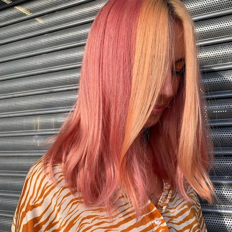 cabelo-bicolor-colorido-rosa-e-laranja