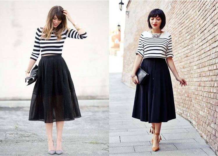 roupas-para-ir-no-culto-igreja-moderna-saia-midi-preta-blusa-listrada