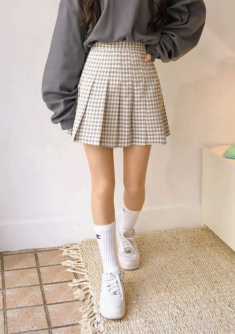moda-coreana-saia-colegial-plissada-moletom-cinza-tenis