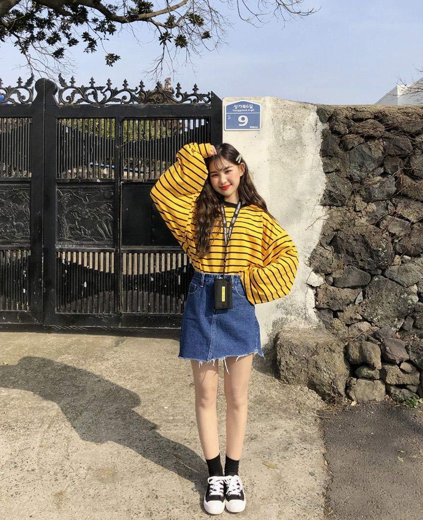 moda-coreana-saia-jeans-moletom-amarelo-listrado