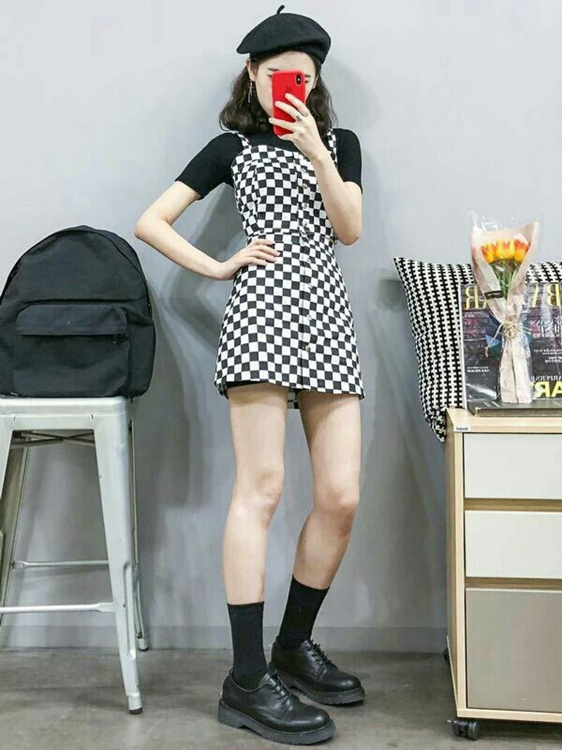 moda-coreana-vestido-quadriculado-preto-e-branco