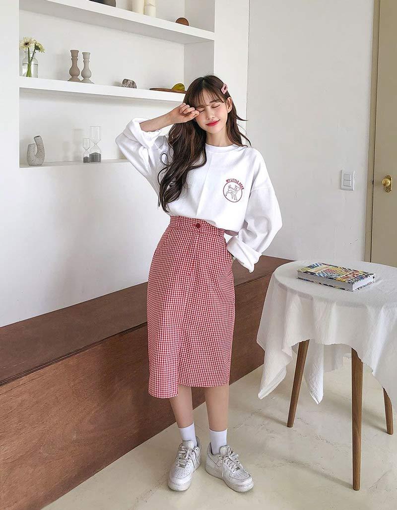 saia-midi-xadrez-moletom-branco-moda-coreana