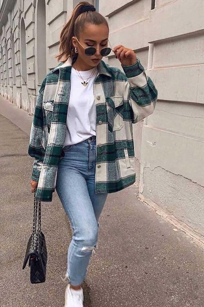 shacket-xadrez-verde-looks-como-usar-calca-jeans-camiseta-branco