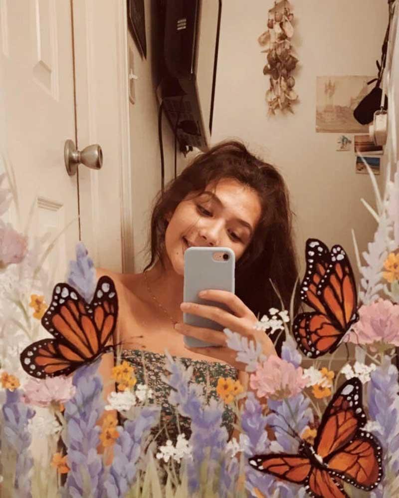 pintura-no-espelho-flores-e-borboleta-jardim