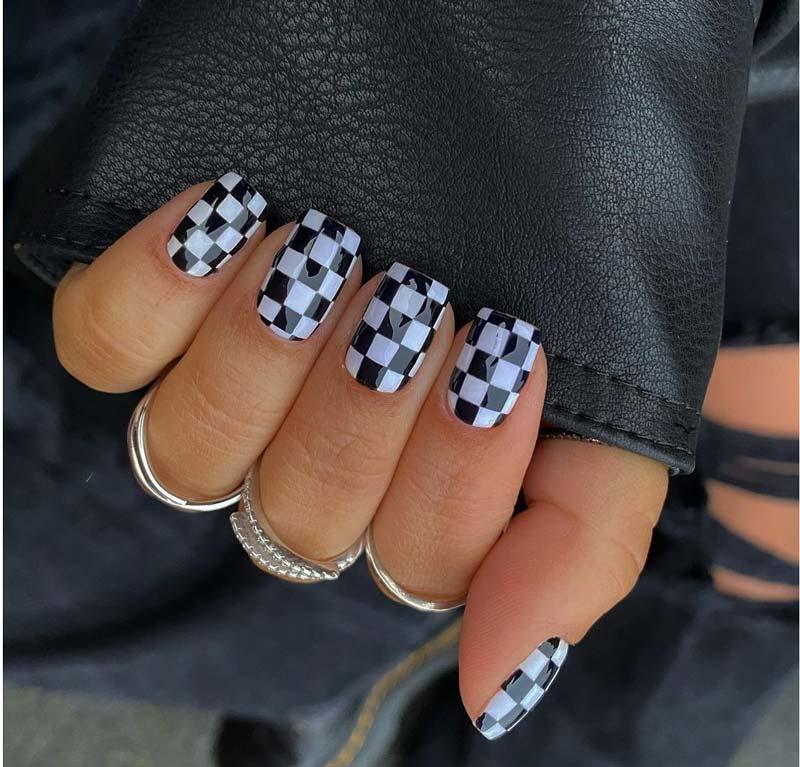 unha-xadrez-quadriculada-preto-branco