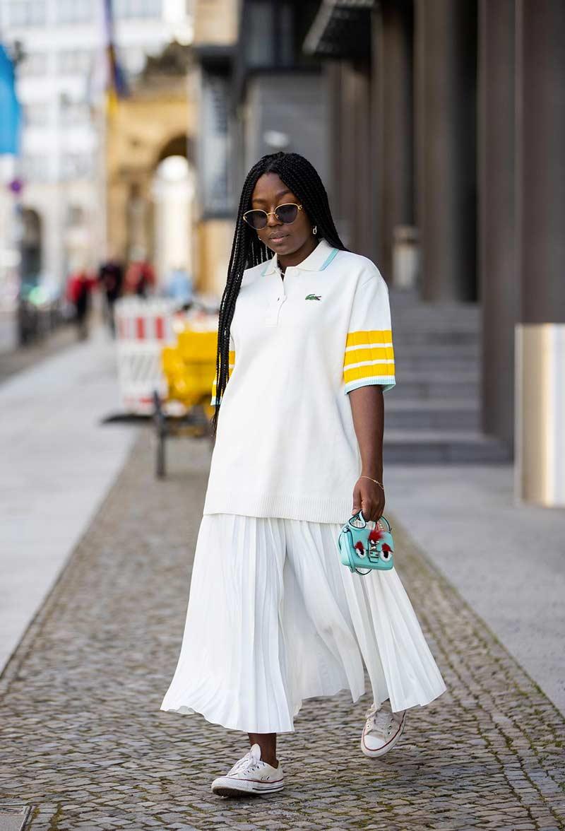 camisa-polo-feminina-longa-saia-longa-plissada-looks