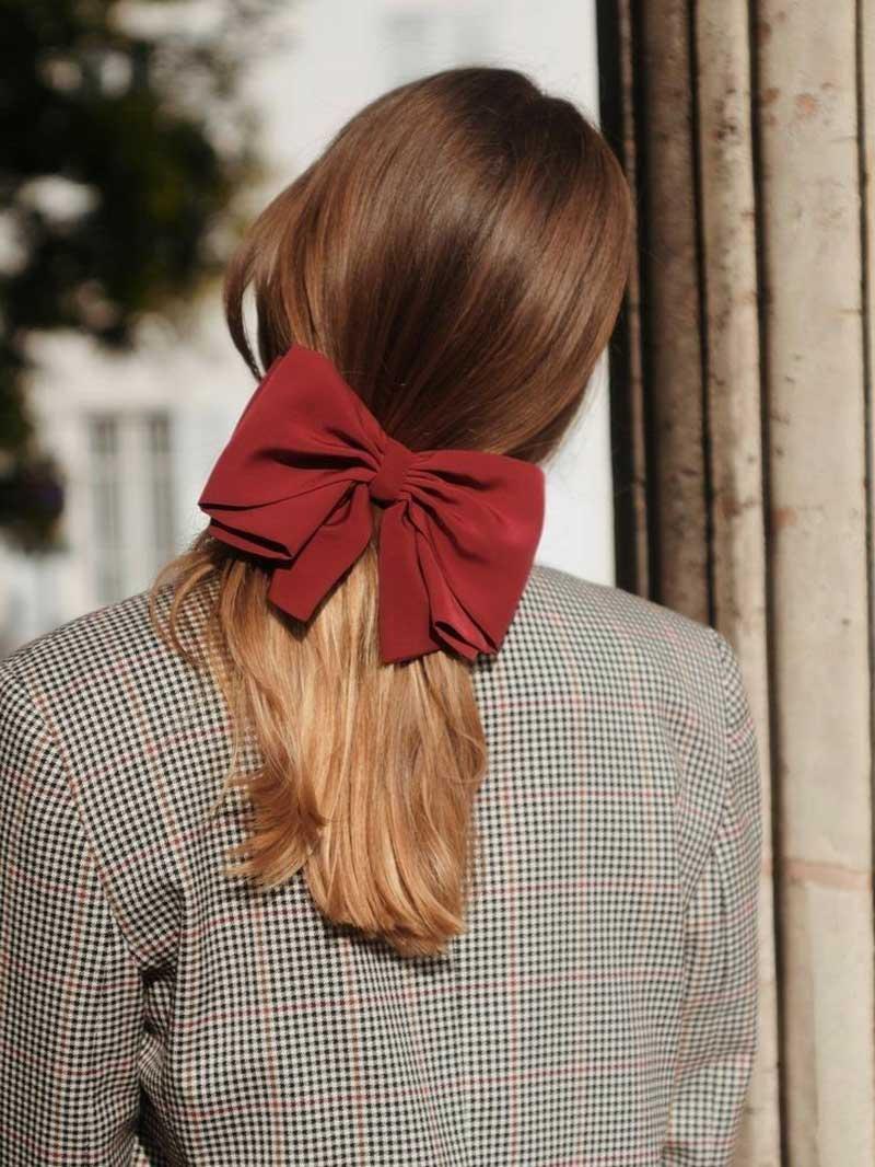 laco de veludo vermelho acessorio cabelos
