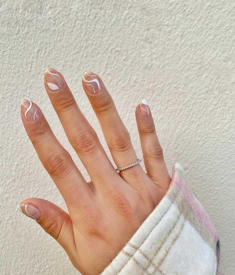 linhas brancas finas unhas tendencia nail art