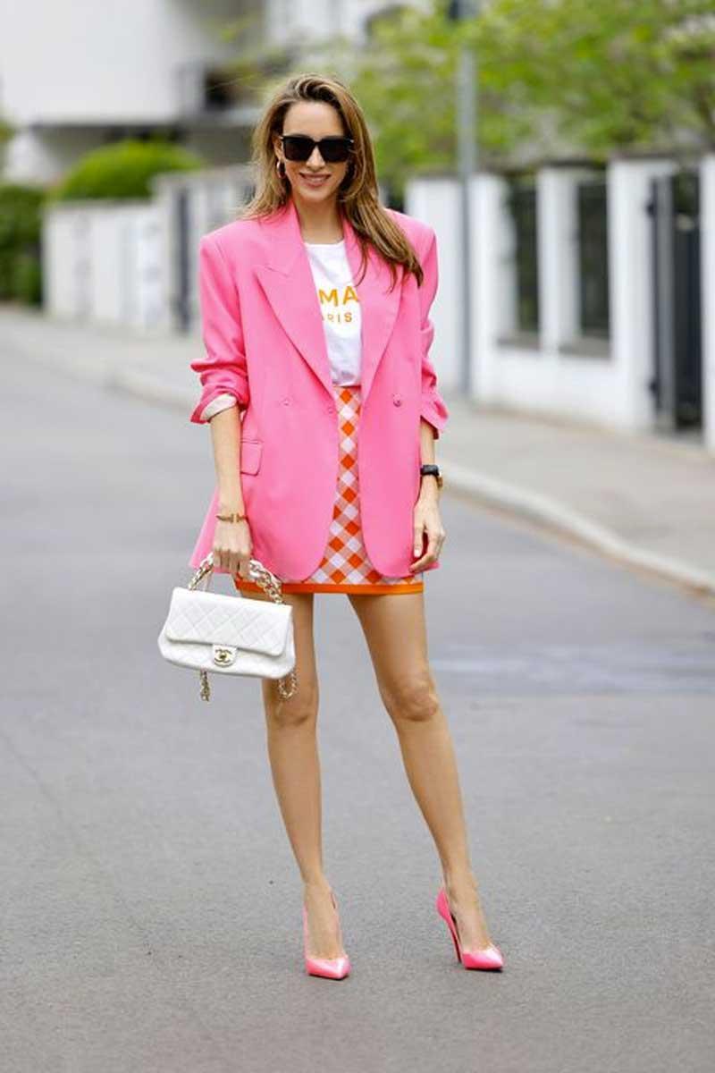 blazer rosa neon