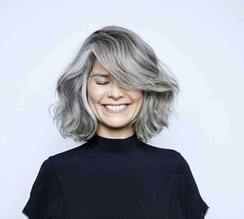 corte bob cabelo grisalho