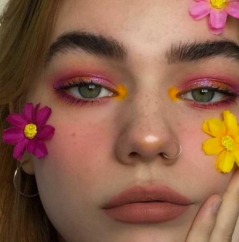 maquiagem colorida sombra amarela canto interno