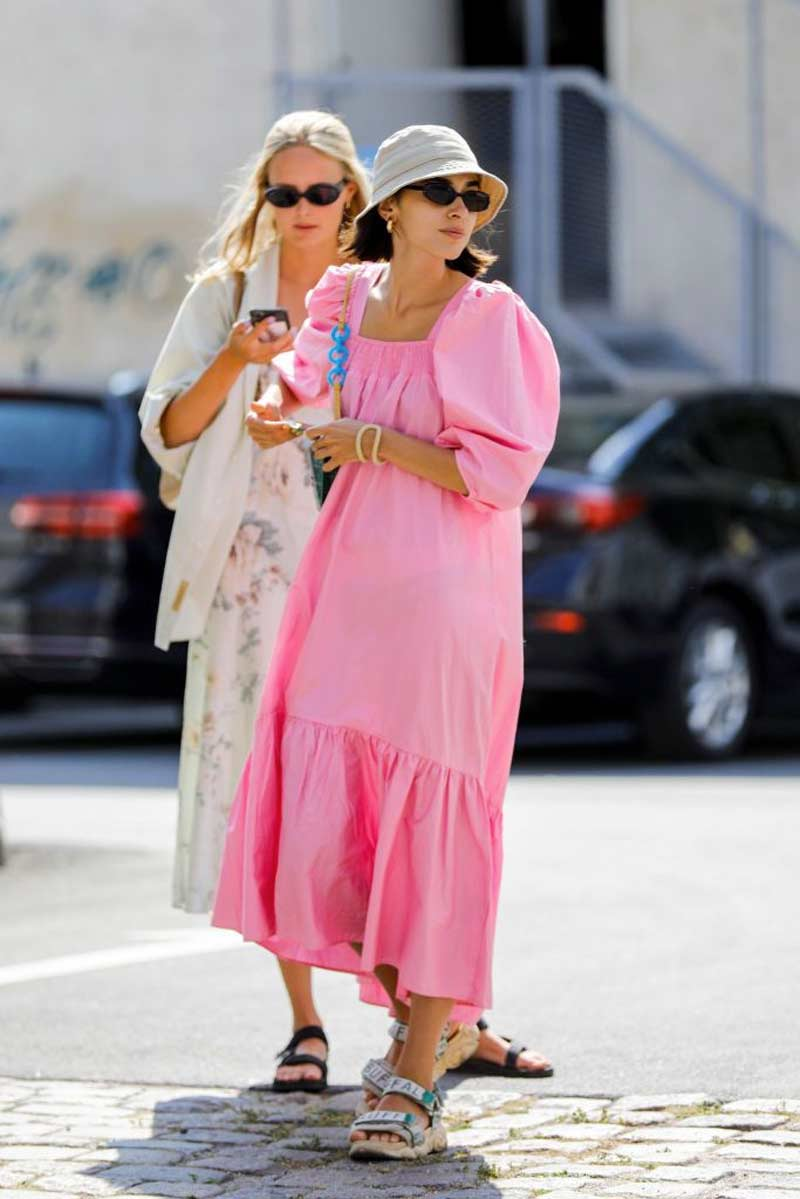 vestido long rosa sandalia de velcro chapeu pescador looks mulheres alta