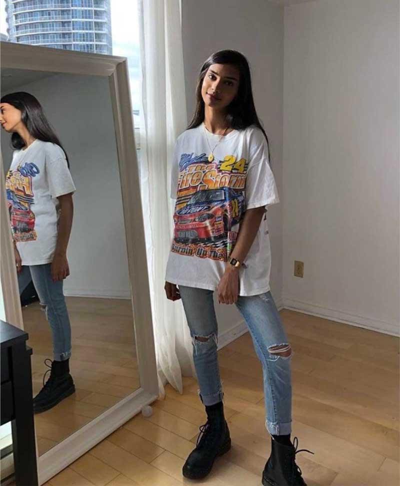 calça skinny camiseta larga looks coturno