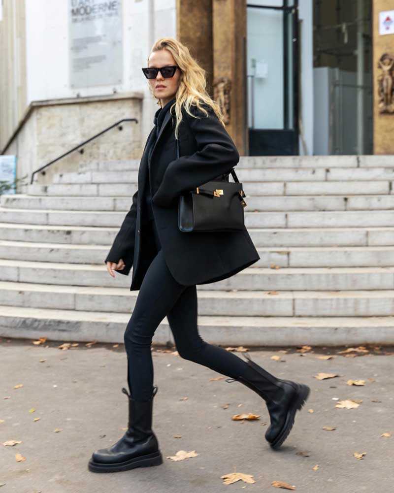 calça skinny preta look all black