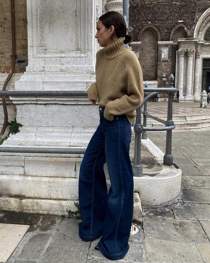 calça wide leg jeans escuro pulover gola alta
