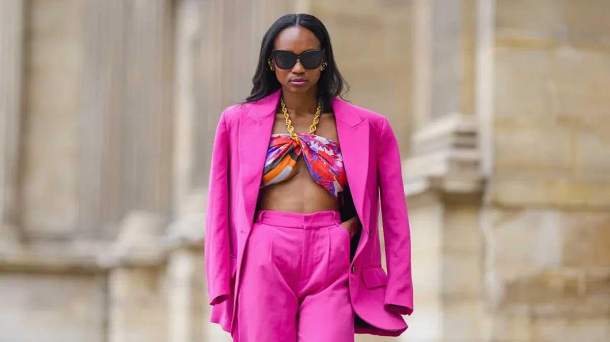 lenço como top blusa blazer terno pink