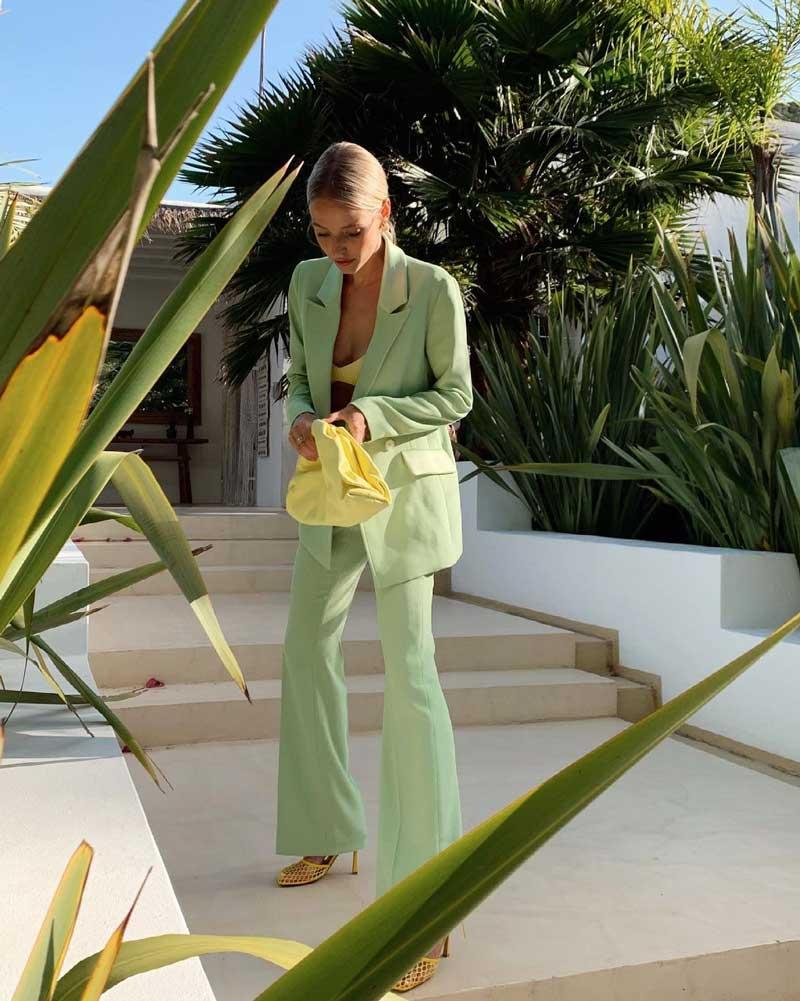 looks social roupas verde claro como usar combinar com amarelo tons pastel