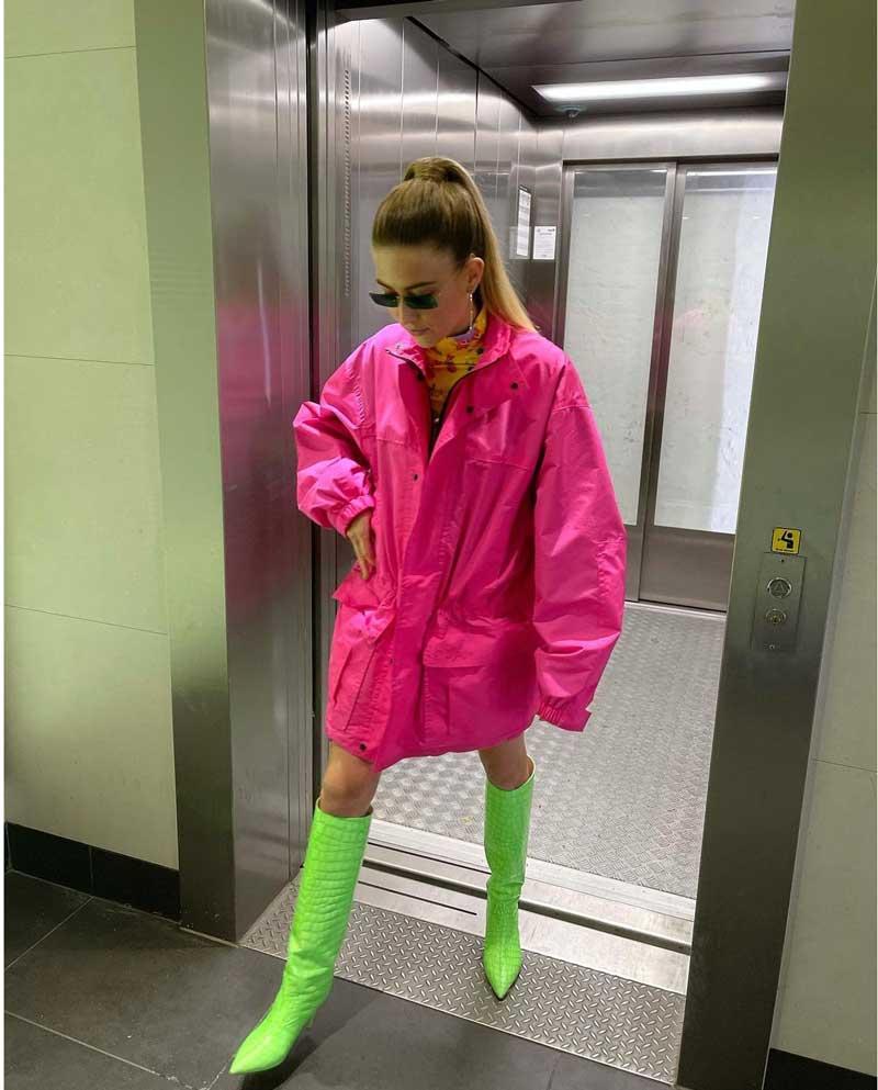 looks verde e rosa