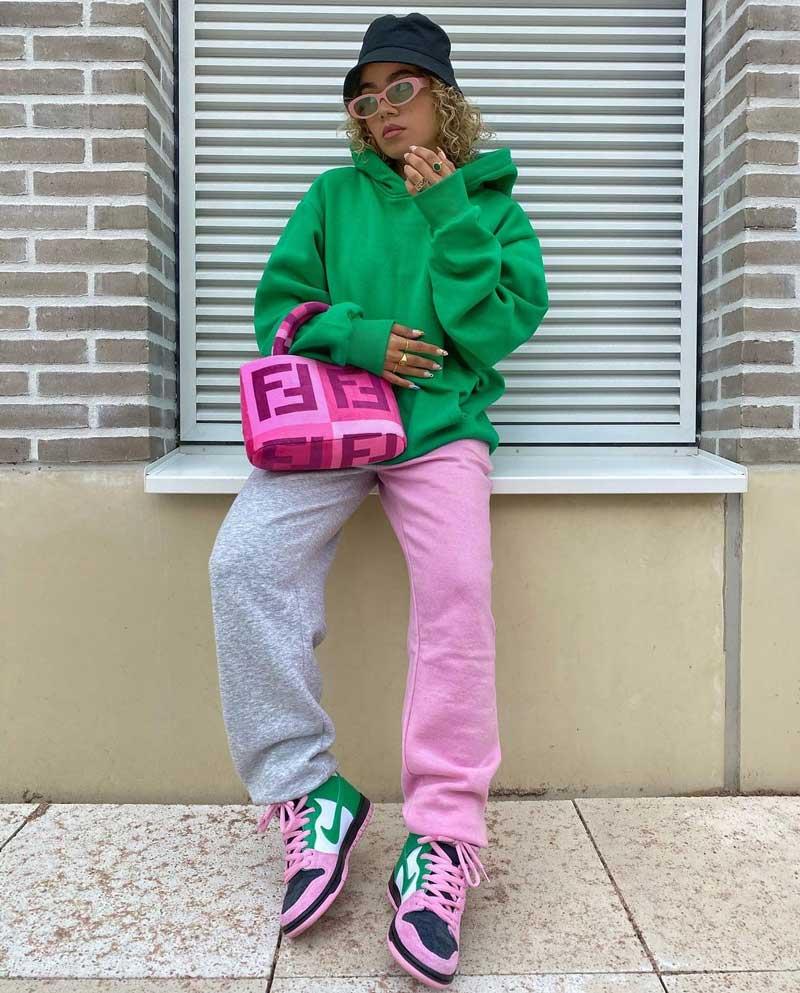 looks verde e rosa como usar
