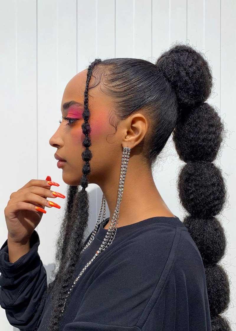 trança bolha como fazer cabelo crespo penteado