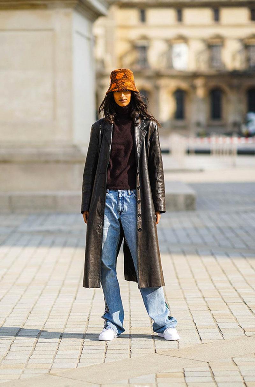 jaqueta de couro sobretudo calça jeans