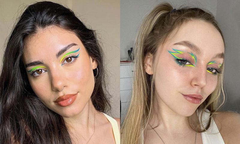 maquiagem verde delineador