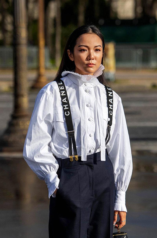 suspensórios moda mulheres femininos looks chanel
